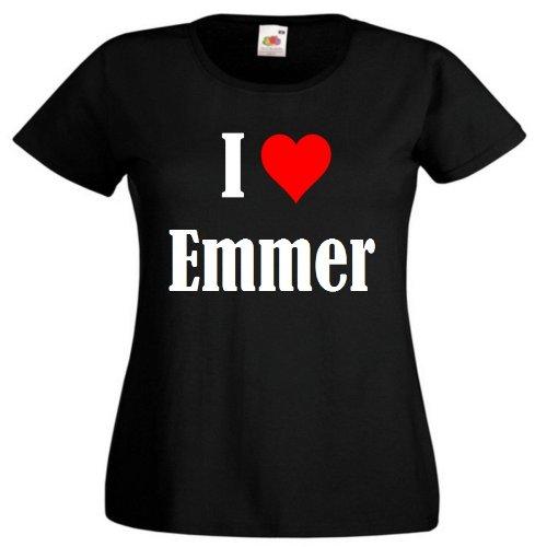 """T-Shirt """"I Love Emmer"""" für Damen Herren und Kinder ... in der Farben Schwarz Weiss und Pink Rosa Schwarz"""