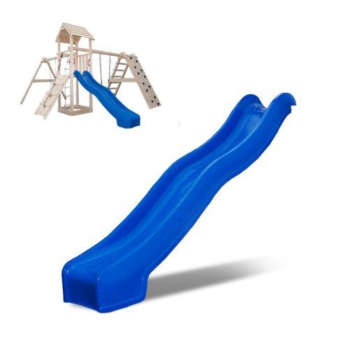 Spielturm Rutsche Zubehör 2,5 m Wellenrutsche Anbaurutsche Kletterturm blau (Blau 250 cm)