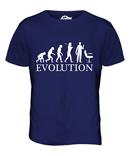 CandyMix Friseur Evolution Des Menschen Herren T Shirt Navy Blau