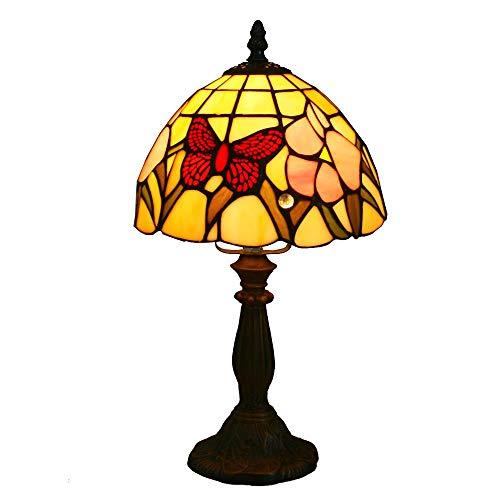 Bronze Tiffany Tischlampe (8 zoll glasmalerei tischlampe dekorative schmetterling w blume tiffany tischlampe innenbeleuchtung antike bronze finish)