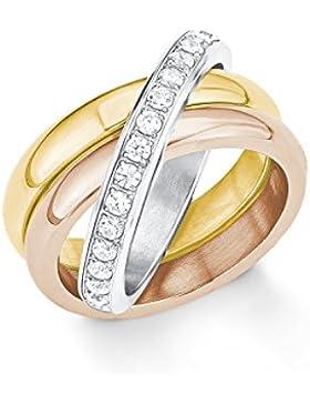 s.Oliver Damen-Ring Tricolor IP Rose IP Gold Edelstahl Zirkonia weiß