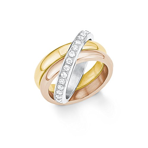 s.Oliver Damen-Ring Tricolor Edelstahl Zirkonia weiß Gr. 54 (17.2)-2012551