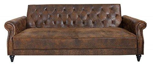 Casa Padrino Chesterfield Sofa Antik Braun mit Schlaffunktion aus Dem Hause Wohnzimmer Möbel – Couch