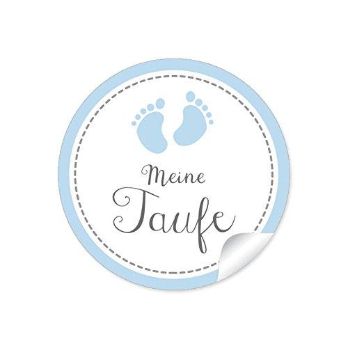"""24 STICKER:""""Meine Taufe"""" 24 schöne Etiketten mit Babyfüßen für ein Mädchen/Junge in Blau • Die Papieraufkleber sind optimal für Gastgeschenke oder Tischdeko zur Taufe im Format 4 cm, rund, matt"""
