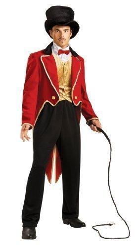 Deluxe Erwachsene Herren Zirkusdirektor Rädelsführer Carnival Circus Gastgeber + Zylinder Kostüm Kleid Outfit (Zirkusdirektor Jacke & Weste Kostüme)
