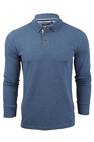 mens-polo-t-shirt-by-brave-soul-lincoln-pique-long-sleeved-ocean-blue-small