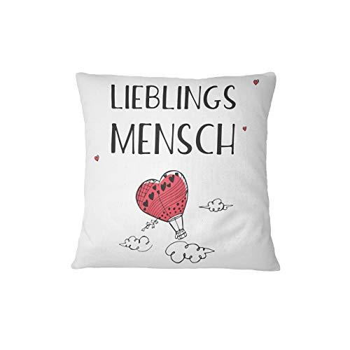 Kissen Lieblingsmensch mit Herz-Ballon - Ich Liebe Dich Geschenke für Männer, Frauen und Freundin - Liebesgeschenk (Rot) (Dich-ballon Ich Liebe)