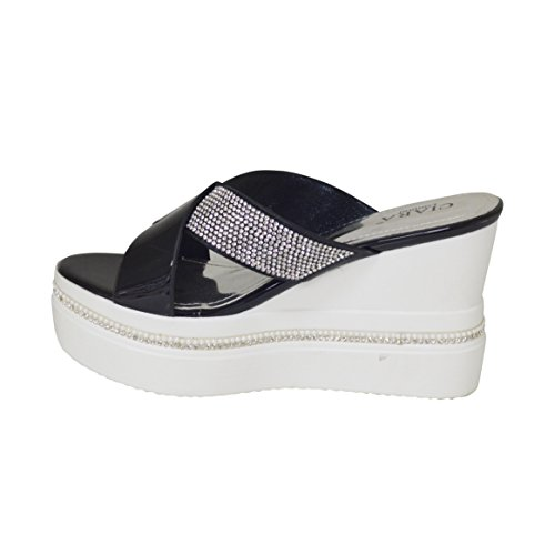 Le nuove signore estate delle donne Criss Cross Diamante Slip On Sandali con zeppa Nero