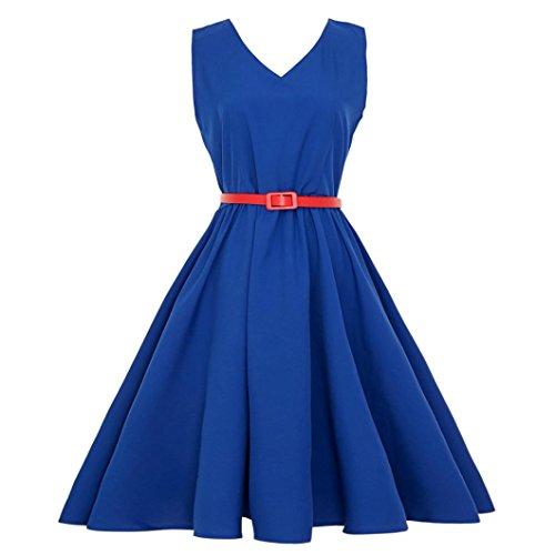 en Party Abendkleid Vintage Retro Prom Slim Fit Swing Kleid Anzug für Weihnachten Oktoberfest Karneval(Blau,EU-36/CN-S) (Schickes Kleid Oktoberfest)