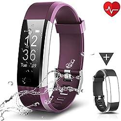 CHEREEKI Fitness Tracker, Moniteur de Fréquence Cardiaque Activité Tracker étanche IP67, Smart Bracelet Podomètre