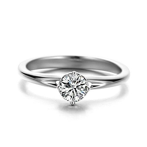 Anyeda Donna Anello di Fidanzamento Oro 18K Argento A Forma di Cuore Singolo A Forma di Diamante Anello Naso Titanio Dimensione 10