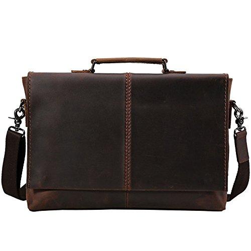 LYQ Bag Dunkelbraun Vintage Style Portable Leder Messenger Satchel Handtasche Mann Business Aktentasche für 15,6