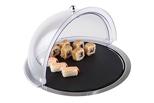 Buffet, Set da 3pezzi, in ardesia (lastra di ardesia naturale), in acciaio inox (vassoio in acciaio inox) e San plastica (Roll Top della cupola), kuehlbar | Sun