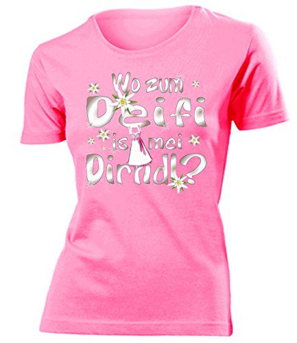 Wo zum deifi is MEI Dirndl 1280 Oktoberfest Outfit Artikel Fasching Kostüm T Shirt verkleidung Wiesn Frauen Damen Mädchen Geschenk Pink XL (Mädchen Kostüme Ideen)