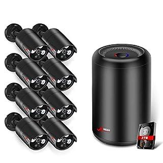 5.0MP PoE Überwachungskamera Set System, ANRAN 8 Kanal DVR-Videoüberwachungs Sets mit 3 TB Festplatte + 8pcs 1920P POE Kugel IP Kamera für Innen und Außen, Onlinezugriff, Bewegungserkennung mit Alarm
