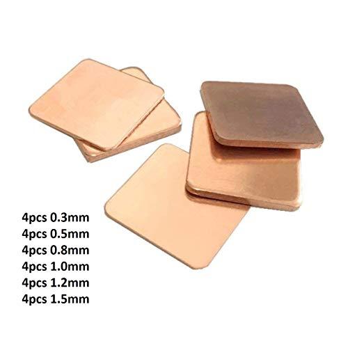 Easycargo 24pcs 6 tailles dissipateur thermique en cuivre Shims + ruban  adhésif conducteur appliqué pour refroidissement d'un ordinateur portable