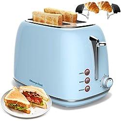 Toaster Grille-Pain 2 Fentes Rétro Acier Inoxydable,Morpilot 6 Niveaux Réglables,3 en 1 de Fonctions de Grille-pain,Décongeler,Réchauffer,815W Rapide Fonction