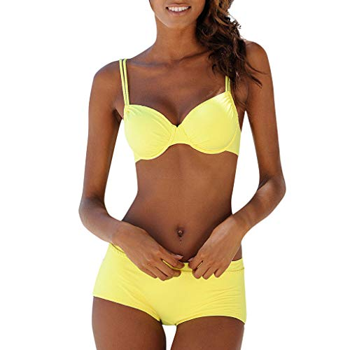 BBring Damen Sexy Zweiteiliger Badeanzug Einfarbig Träger BH Bikini Set Niedrige Taille Boyshort Hose Badebekleidung (L, Gelb) -