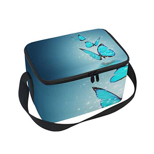 Lunchtasche Art Blue Butterfly Wasserkühler für Picknick, Schultergurt, Lunchbox