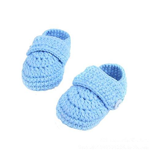 kingko® Lit bébé Crochet Casual bébé main Knit Sock infantile Chaussures Bleu