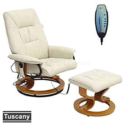 TUSCANY LEATHER SWIVEL RECLINER MASSAGE CHAIR w FOOT STOOL ARMCHAIR 8 MOTOR MASSAGE UNIT BUILT IN