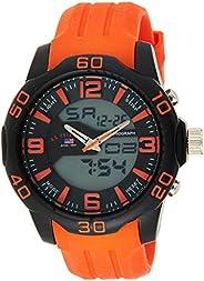 U.S. Polo Assn. Sport Men's US9476 Analog-Digital Watch With Orange Silicone