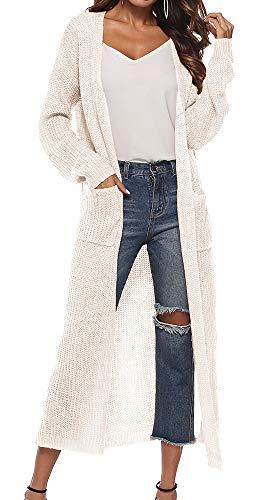 Vertvie Damen Mantel Langarm Open Front Cardigan Strickjacke Asymmetrisch Schnitt Strickmantel Langshirt mit Taschen (EU S/Etikettengröße M, Weiß) (Langen, Weißen Mantel Für Frauen)