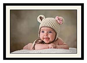 ArtStory Wooden Cute Baby with A Nice Hat Framed Wall Painting (30 cm x 20 cm x 2.5 cm)