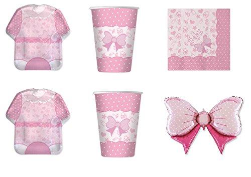 Koordinierte Mädchen Baby Girl Geburt Taufe Erste Geburtstag Pink Party Dekorationen–Kit N ° 16cdc- (8Teller, 8Becher, 16Servietten, 1Ball Foil)