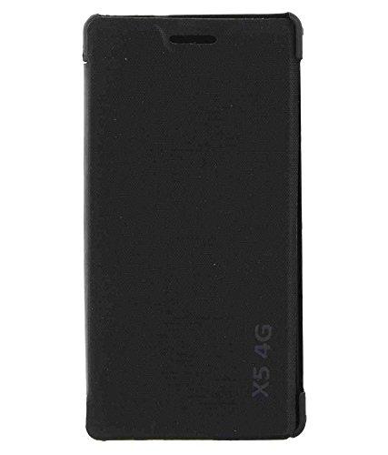 KTC Plus Black Leather Flip Cover For Lava iris X5 (4G)
