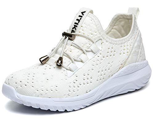 VITIKE Kinder Schuhe Jungen Schuhe Mädchen Sneaker Damen Sportschuhe Outdoor Schuhe Jungen Turnschuhe Laufschuhe Schnürer Freizeit Sportschuhe Kinder Sneaker, 9-weiß, 38 EU (Wandern Damen Turnschuhe)