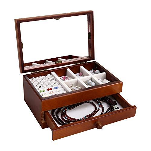 Renjianfeng astuccio per gioielli femminile in legno di grandi dimensioni,con specchio organizer portagioie di grande capacità, con cassetti estraibili scatola per medicazione multiuso,marrone
