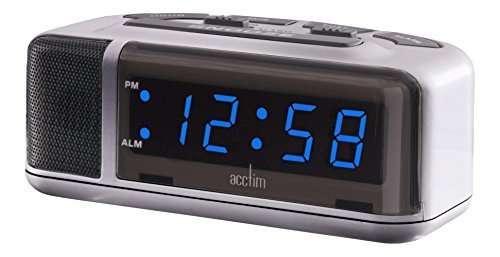 Acctim Excelsior Blue LED Mains Electric Bold Bedside Alarm Clock by Acctim