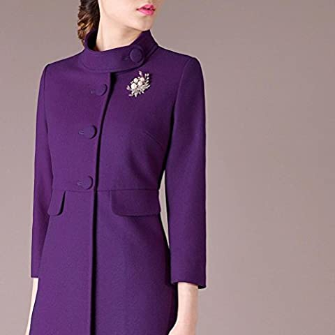 Moda Slim yardas grandes lana largo escudo mujer de , purple , xxl