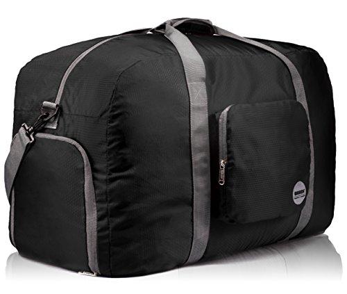Duffle Bag Koffer (WANDF Faltbare Reisetasche Duffel-Bag oder Fitnesstasche für Koffer, Reise, Sportausrüstung usw. Super leichtgewichtig wasserresistent Nylon (90L, Schwarz))