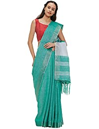 fcc9ce902409cd AKHILAM Women's Linen Saree with 2 Different Blouse Pieces (Sea Green, Free  Size)