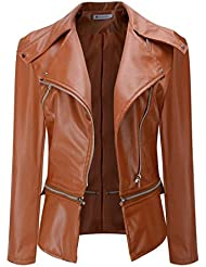 Chaqueta de cuero para mujer, LILICAT Abrigo corto de cuello de imitación de invierno cálido Tallas grandes, Sobretodo de abrigo de Parka (3XL, Marrón)