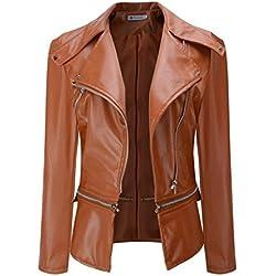 Chaqueta de cuero para mujer, LILICAT Abrigo corto de cuello de imitación de invierno cálido Tallas grandes, Sobretodo de abrigo de Parka (4XL, Marrón)