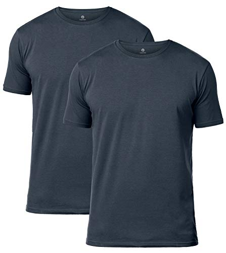 LAPASA Uomo T Shirt Pacco da 2 –Cotone ELS Premium Maglietta Girocollo Soffice e Flessibile Slim Fit Maniche Corte M05