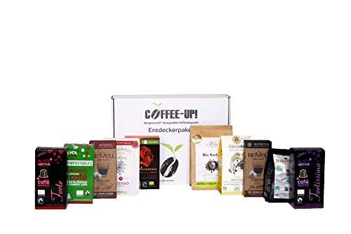 Coffee-Up-Entdeckerpaket: 10 intensive Sorten - kompostierbare & aluminiumfreie Bio-Kaffeekapseln, Nespresso® kompatibel