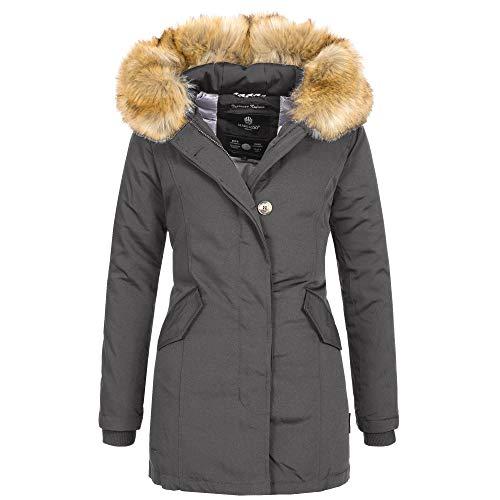 Marikoo KARMAA Damen Jacke Parka Mantel Winterjacke warm gefüttert Luxus XXL Kunstpelz 7 Farben, Größe:XL - 42;Farbe:Anthrazit Super Warme Jacke