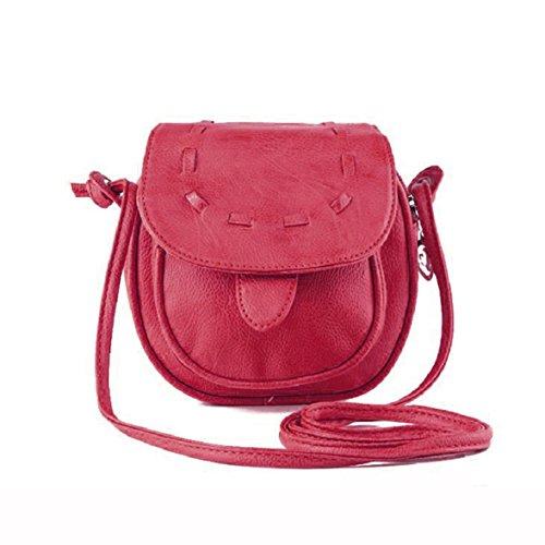 Culater® neu Frauen schön Mini Kunstleder bonbonfarbenen Schultertasche Handtasche Hot Pink
