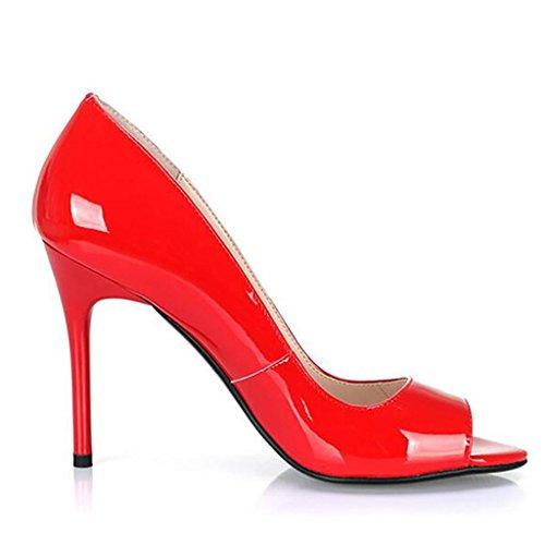 W&LMScarpe di bocca di pesce sandali Aprire il piede Tacco alto Bocca poco profonda Scarpe singole Scarpe da donna professionali red 10cm