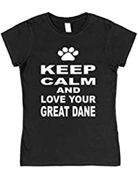 Click My Clobber Womens, T-Shirt, Keep Calm and Love Your Great Dane Dog
