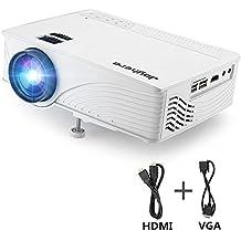 Joyhero Mini LED Proyector, GP12 1080P HD 2000 lúmenes videoproyector multimedia para el hogar teatro apoya AV tarjeta de 1080P HDMI USB SD VGA para cine en casa de juegos portátiles de TV … (blanco)