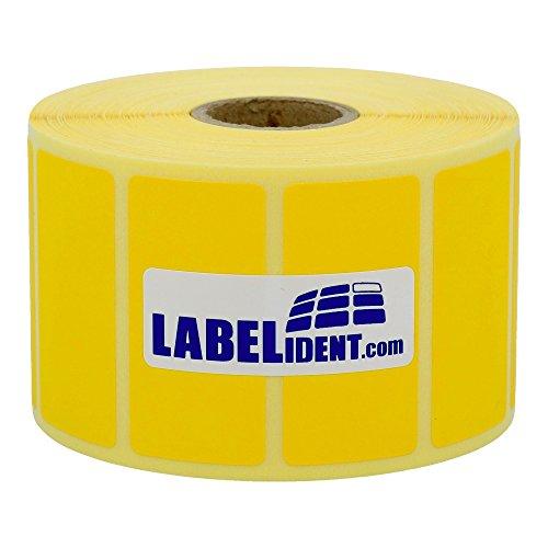 Labelident permanent haftende Thermo Etiketten - 57 x 32 mm - unbeschichtetes Papier, gelb matt, Trägerperforation, 2100 Thermodirekt-Etiketten auf Rolle mit 25 mm (1 Zoll) Kern