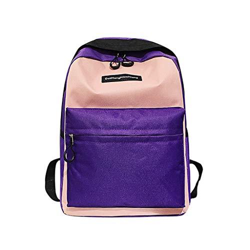 Sammlung Mode Hobo (XZDCDJ Rucksäcke Für Damen Tasche Damen groß Paar Schul Reisen Wander Farbblock Rucksack Sammlung leuchtende Rosa)