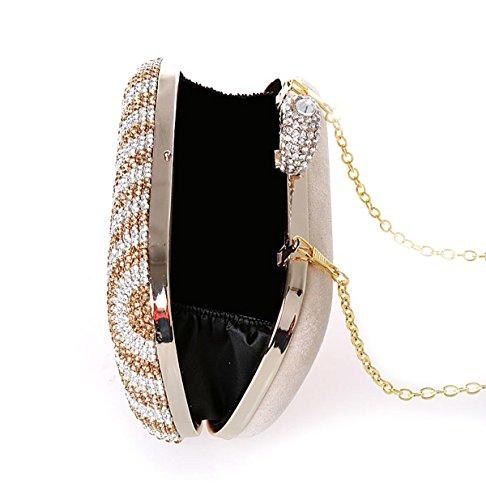 KAXIDY Luxus Damentasche Tasche Clutch Handtasche Abendtasche Brauttasche Geldbörsen Tasche mit Strass für Party Hochzeit Gold