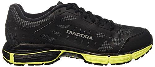 Diadora N-4100-2 Win Bright, Entraînement de course homme Nero (Nero/Argento/Giallo Fl Dd)