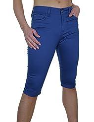 ICE (1479-4) Pantacourt Chinos Bleu Royal en Jeans Extensible avec Revers